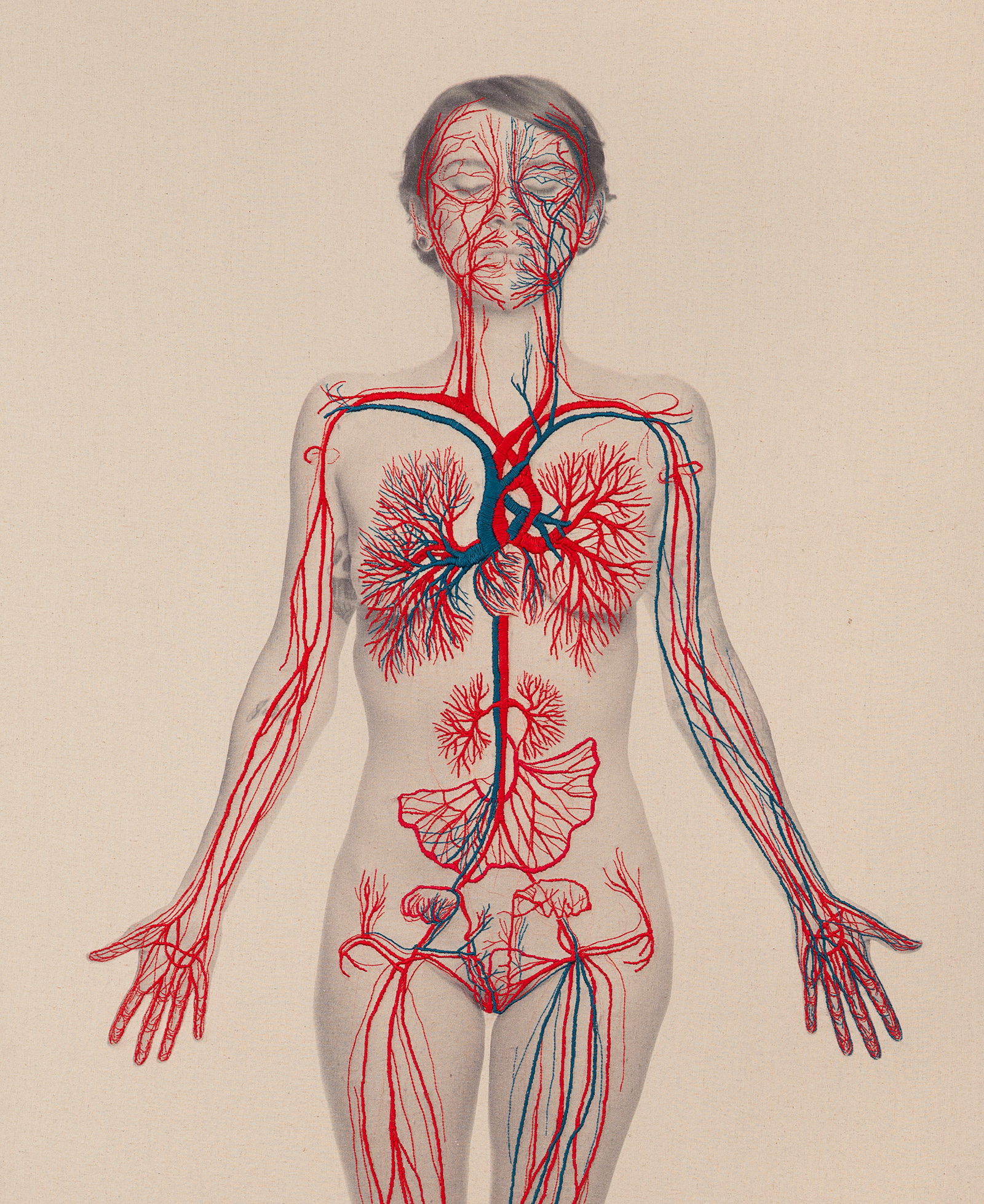 Intricately Embroidered Self Portraits Explore Anatomy And Physics