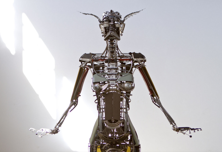Disassembled Typewriters Become Larger-Than-Life Human Sculptures