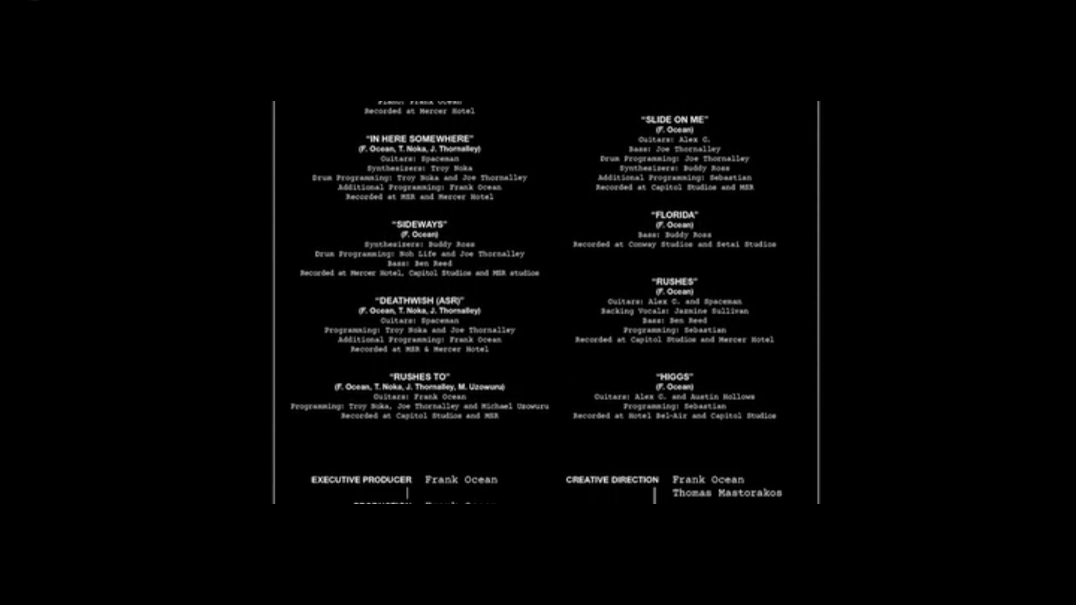here are the full credits from frank ocean s endless noisey